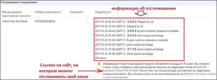 информация о перемещении посылки