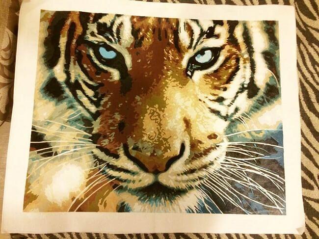 Картина по номерам с тигром с Алиэкспресс
