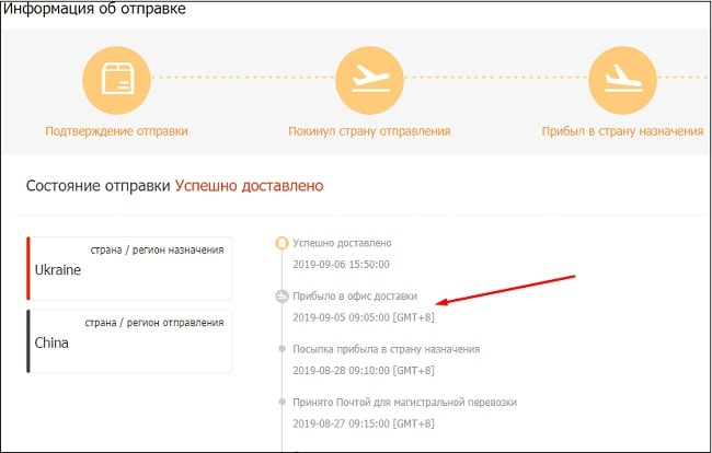arrival at local delivery office перевод